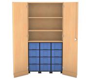 Flexeo Garagenschrank mit 3 Fächern, 3 Rollcontainern & 12 gr. Boxen