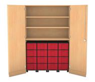 Flexeo Garagenschrank mit 3 Fächern, 4 Rollcontainern und 16 Boxen