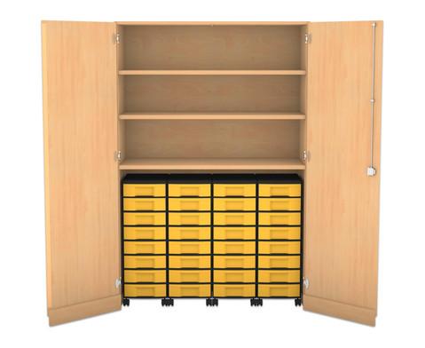 Flexeo Garagenschrank mit 3 Faechern 4 Rollcontainern und 32 Boxen-1