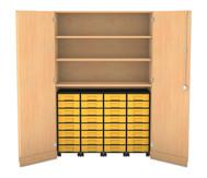 Flexeo Garagenschrank mit 3 Fächern, 4 Rollcontainern und 32 Boxen
