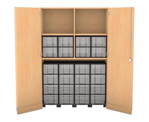 Flexeo Garagenschrank mit 2 Faechern 4 Rollcontainern und 24 Boxen-1