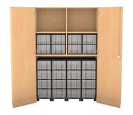 Flexeo Garagenschrank mit 2 Fächern, 4 Rollcontainern und 24 Boxen