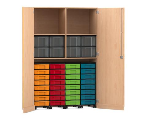 Flexeo Garagenschrank mit 2 Faechern 4 Rollcontainern und 40 Boxen