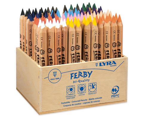 96 Stueck Lyra Ferby naturbelassen im Holzaufsteller