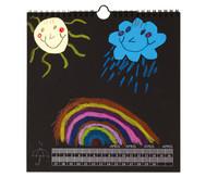Blanko-Kalender, Papier schwarz, Druck silber