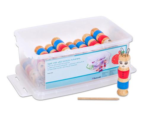 Set mit 20 Strick-Maries und 1 transparenten Box