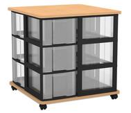Flexeo Containersystem mit Ablage, 12 große  Boxen, fahrbar, HxBxT: 72,8 x 71 x 71 cm