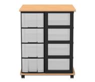 Fahrbares Flexeo Containersystem mit Ablage und 16 großen Boxen