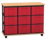 Fahrbares Flexeo Containersystem mit Ablage und 9 großen Boxen