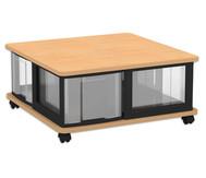 Fahrbares Flexeo Containersystem mit Ablage und 4 großen Boxen