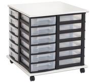 Fahrbares Flexeo Containersystem mit Ablage und 24 kleinen Boxen