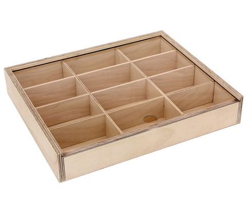 Holz-Sortierbox mit 12 Innenfaechern