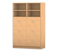 Flexeo mittelhoher Schrank mit 6 großen Holzschubladen