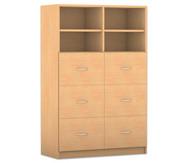 Flexeo mittelhoher Schrank mit 6 großen Schubladen und 4 Fächern