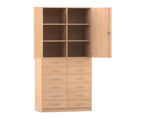 Flexeo Hochschrank mit 6 Faechern 12 Holzschubladen und Tueren