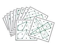 Arbeitskarten transp. Geometrie-Board: mit 2 und mehr Gummibändern