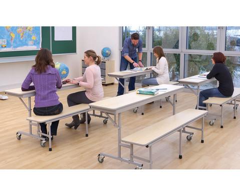 Tisch-Bank-Kombination 4 - 5 Sitzplaetze Tischhoehe 69 cm