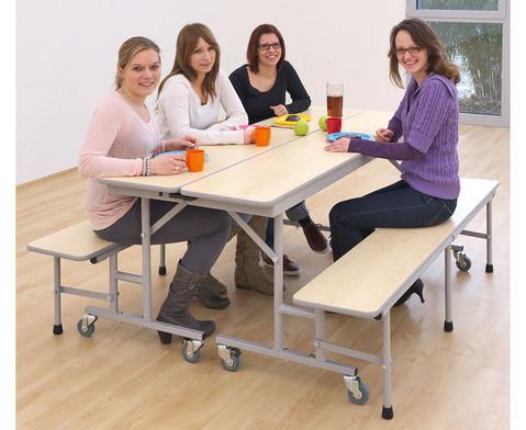 Tisch-Bank-Kombination 5 - 6 Sitzplaetze Tischhoehe 69 cm