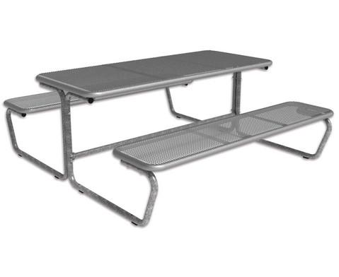 Outdoor Bambino Tisch-Sitz-Kombination mit 6-8 Sitzplaetzen Tischplatte Drahtgitter