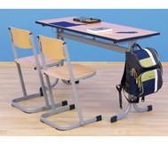 Schüler-Zweier-Tisch, 130 x 55 cm, Tischhöhe 82 cm