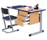 Lehrertisch: L-Fuß, Blende, abschließbares 3er-Fach