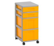 Flexeo Rollcontainer mit 3 großen 2 kleinen Boxen