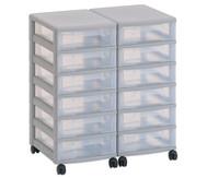 Flexeo Container-System 2 Reihen, 12 kleine Boxen HxBxT: 66x60x38 cm