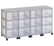 Flexeo Container-System 4 Reihen, 12 große Boxen HxBxT: 66x120x38 cm
