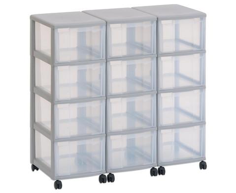Flexeo Container-System 3 Reihen 12 Boxen HxBxT 86x90x38 cm