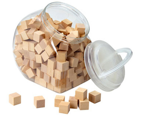 150 Holzwuerfel naturbelassen mit Behaelter