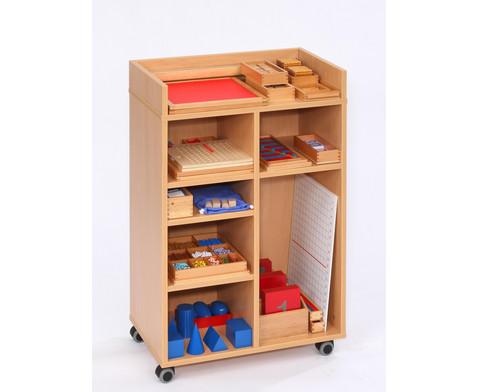 Montessori-Material fuer Mathematik im fahrbaren Regal-2