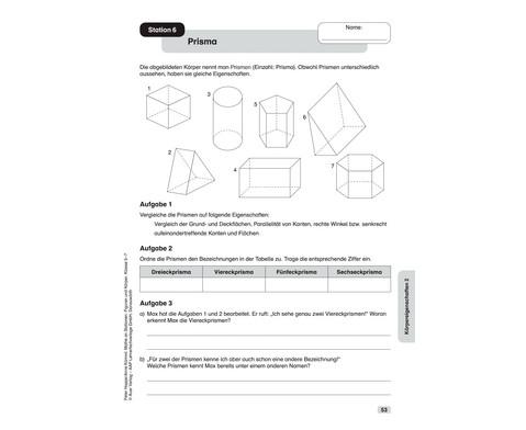 Mathe an Stationen - Spezial Figuren und Koerper Klasse 5 - 7-9