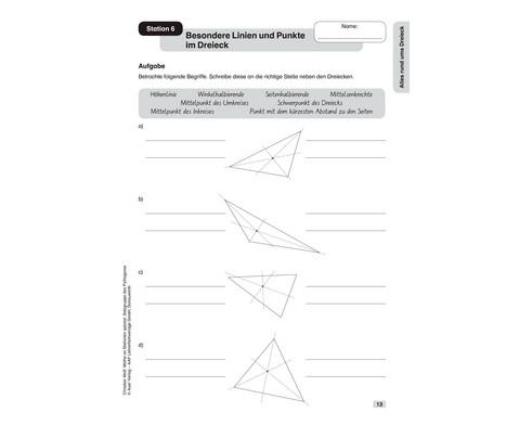 Mathe an Stationen - Spezial Satzgruppe des Pythagoras - Klasse 7 - 10-3