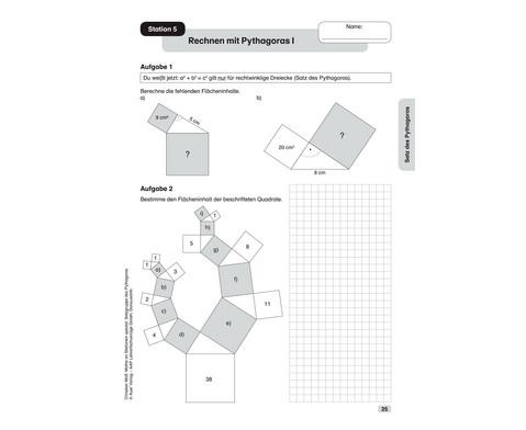 Mathe an Stationen - Spezial Satzgruppe des Pythagoras - Klasse 7 - 10-7