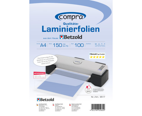 Karton mit 100 Compra Laminierfolien matt DIN A4 150 mic