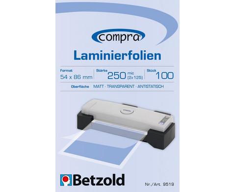 Betzold Laminierfolien Kreditkarten-Format 100 Stueck