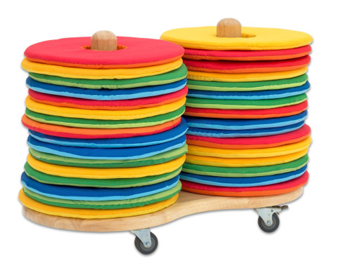 Betzold Mobiler Kissenwagen mit 32 runden Donut-Sitzkissen