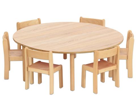 Betzold Tisch-Set Trentino 2x Halbrundtisch Hoehe 52 cm Sitzhoehe 30 cm