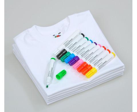 Fruit of the Loom Kinder T-Shirts zum Bemalen mit 10 Stoffmalstiften