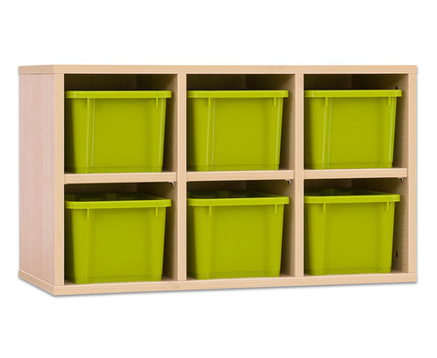 Garderoben-Haengeregale CHIPPO mit gruenen Boxen