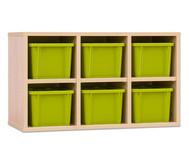 Garderoben-Hängeregale CHIPPO, mit grünen Boxen