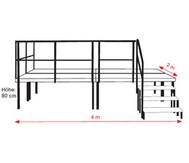 Treppe für 60 cm Bühne, 2-stufig, ohne Geländer