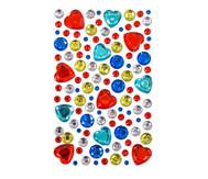 Glitzersteine zum Aufkleben - rote Herzen und mehr, 105-tlg.