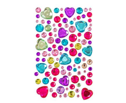 Glitzersteine zum Aufkleben Herzen in Pastell 105-tlg