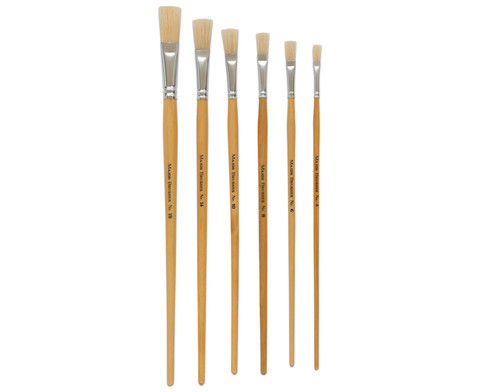 Borstenpinsel-Set 6 Stueck mit langem Stiel