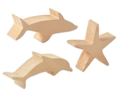 Schnitzrohlinge 3er-Set - Seestern Hai Delfin-1