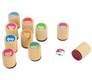 Holzstempel Gesichter, 10-teilig