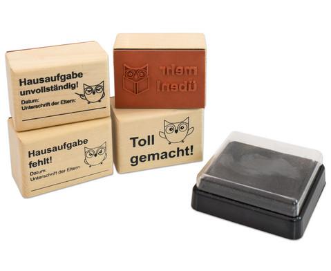 Hausaufgaben-Stempel 4 Stueck im Set inkl Stempelkissen