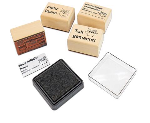 Hausaufgaben-Stempel 4 Stueck im Set inkl Stempelkissen-2