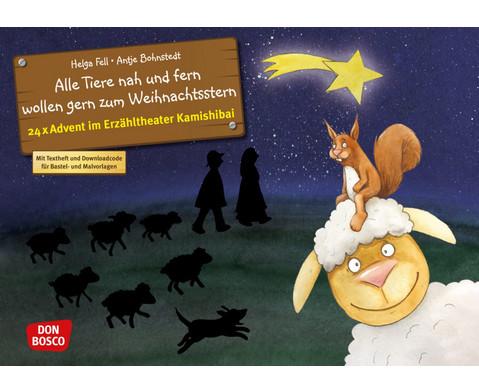 Bildkarten Alle Tiere nah und fern wollen gern zum Weihnachtsstern